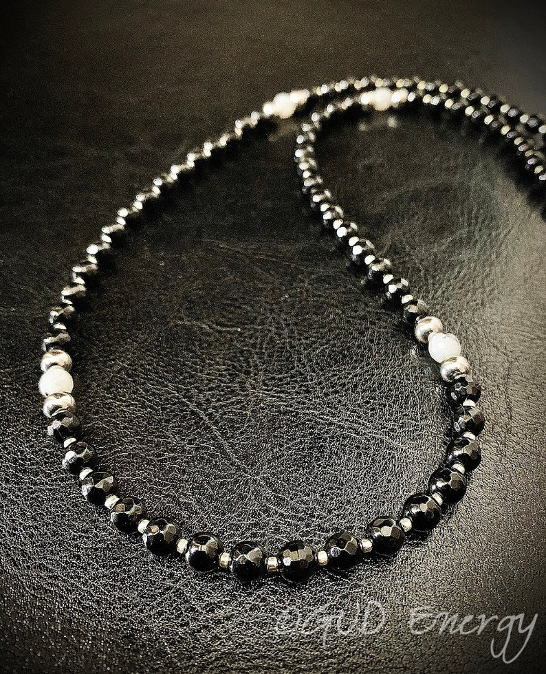 Men/'s Necklace Black Onyx Labradorite Silver Stainless Steel Zodiac Aquarius by GUD Energy