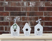wood birdhouse mini sign, rae dunn inspired, tiered tray set up, farmhouse style, home decor, 3d sign