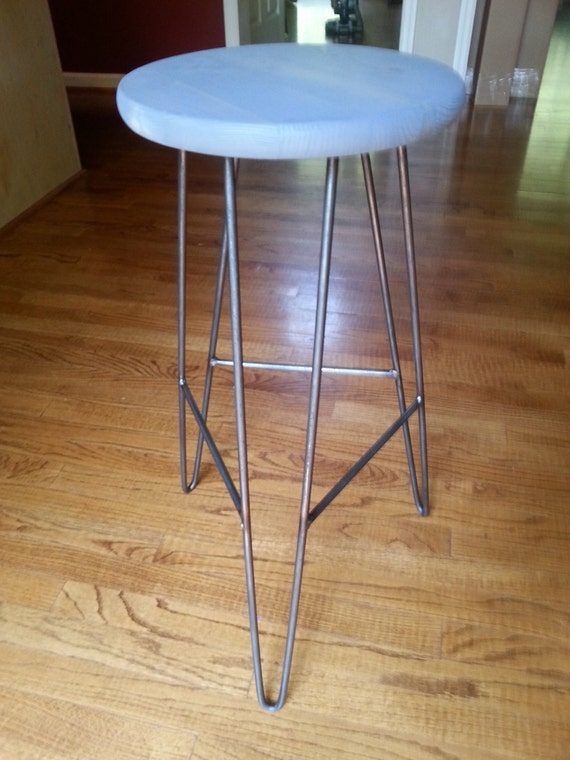 Astounding Hairpin Bar Stool Weathered Gray Top Custom Heights Available Ncnpc Chair Design For Home Ncnpcorg