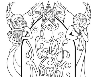 O Holy Night Nativity Scene Coloring Page In Two Sizes 85X11 Bible Journaling Tip 6X8