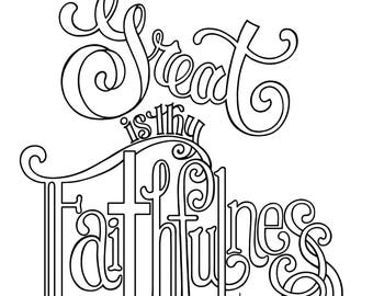 Great Is Thy Faithfulness Coloring Page 85X11 Bible Journaling Tip In 6X8