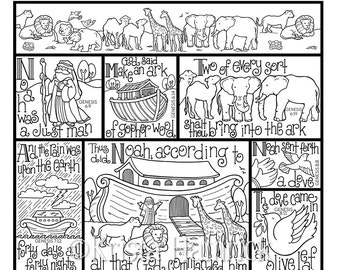 noahs ark coloring page in three sizes 85x11 8x10 suitable for framing - Noahs Ark Coloring Pages
