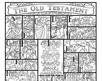 Old Testament and New Testament (BOTH designs included!) coloring pages in three sizes each: 8.5X11, 8X10, 6X8 for Bible journaling tip-in