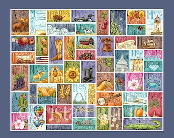 FABRIC PANEL 50 States cotton quilt fabric panel  Overall fabric size 42X36 **Please Read Shipping Details Below**