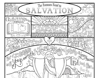 The Romans Road to Salvation  coloring page in three sizes: 8.5X11, 8X10 suitable for framing, 6X8 for Bible journaling tip-in