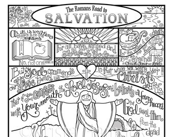 The Romans Road to Salvation Memory Coloring Collection/  Includes 10 coloring pages for memorization or lessons and 3X5 take-along cards