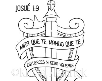 SPANISH Be Strong / Joshua 1:9 coloring page in two sizes,  8.5X11, Bible journaling tip-in 6X8
