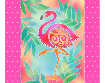 FABRIC PANEL Flamingo cotton quilt fabric panel  Overall fabric size 36X42 **Please Read Shipping Details Below**