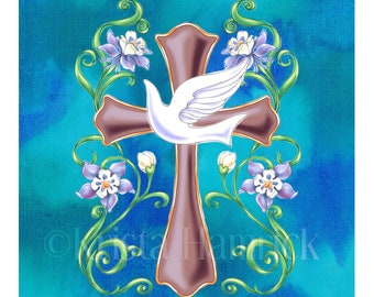 FABRIC PANEL Holy Spirit Dove cotton quilt fabric panel  Overall fabric size 36X42 **Please Read Shipping Details Below**