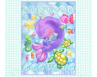 FABRIC PANEL Sea Babies cotton quilt fabric panel  Overall fabric size 36X42 **Please Read Shipping Details Below**