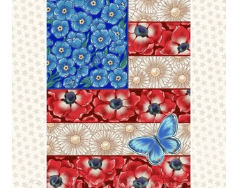 FABRIC PANEL Floral Patriotic Flag cotton quilt fabric panel  Overall fabric size 36X42 **Please Read Shipping Details Below**