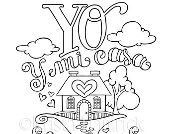 SPANISH My House coloring page in two sizes: 8.5X11, Bible journaling tip-in 6X8