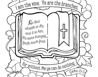 I Am The Vine Coloring Page 85X11 Bible Journaling Tip In 6X8