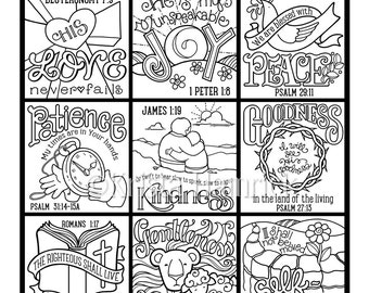 The Fruit Of Spirit Coloring Page In Three Sizes 85X11 8X10 Suitable For Framing 6X8 Bible Journaling Tip