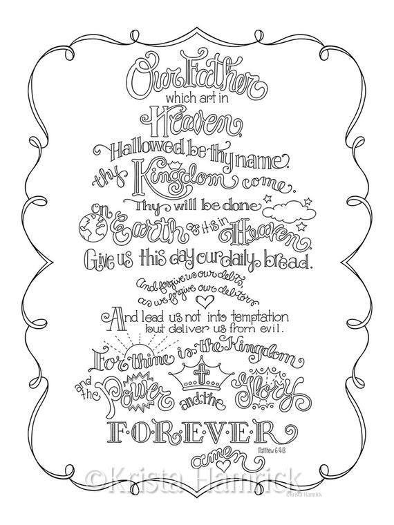 The Lord S Prayer Coloring Page In Three Sizes 8 5x11 Etsy