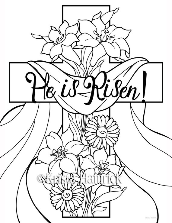 He is Risen! 2 Easter coloring pages for children