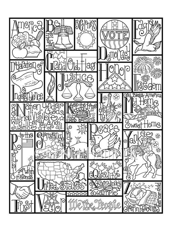 Patriotic Alphabet Coloring Page In Three Sizes 8 5x11 8x10 Etsy