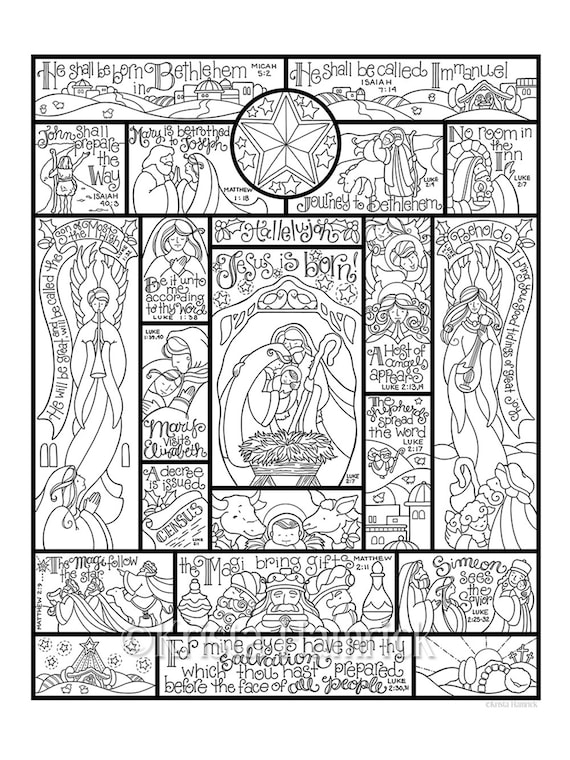 Story Of The Nativity Coloring Page In Three Sizes 8 5x11 Etsy
