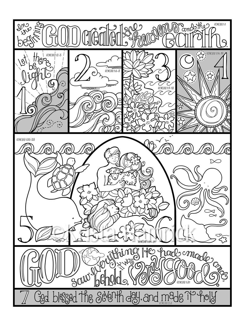Days of Creation coloring page in three sizes: 8.5X11 8X10 ...