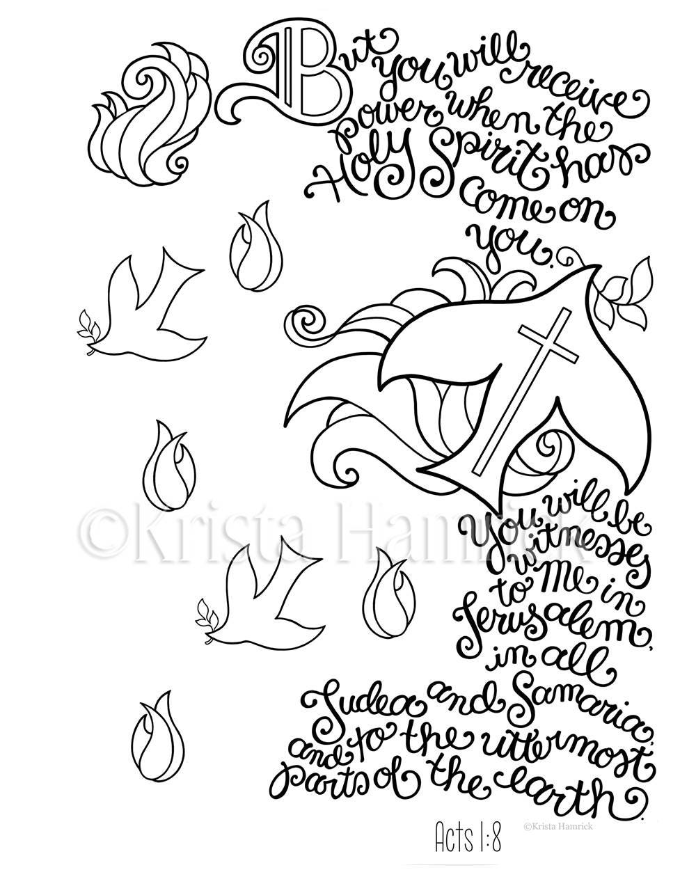 bible coloring pages about acts 16 | Holy SpiritBe My Witnesses Bible Journaling traceable size