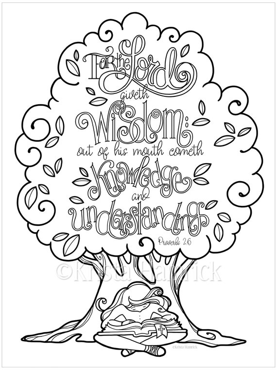 Wisdom Proverbs 2 6 Coloring Page In Two Sizes 8 5x11 Bible Etsy