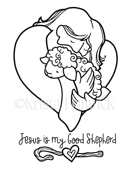 Good Shepherd 2 Coloring Pages For Children Etsy