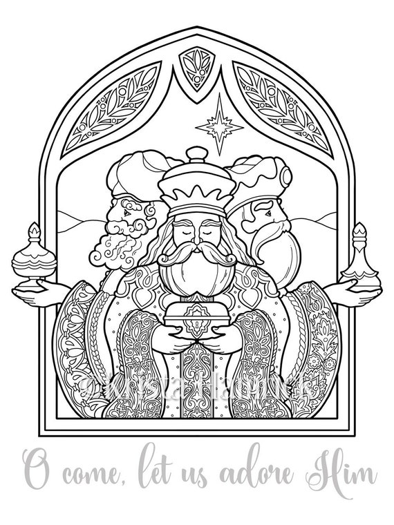 Three Wise Men Coloring Page In Two Sizes 8 5x11 Bible Etsy