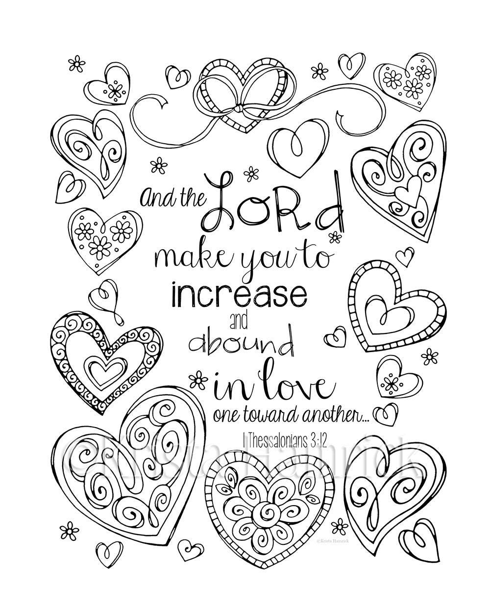 Increase And Abound In Love Coloring Page Two Sizes
