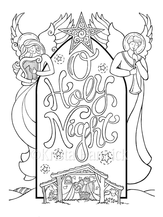O Holy Night Nativity Scene Coloring Page In Two Sizes: Etsy