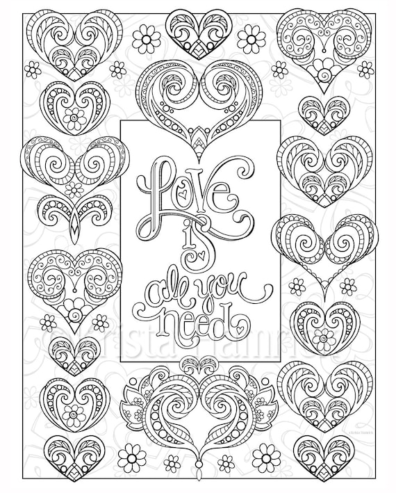Love Hearts-- 2 coloring pages for Valentine's Day