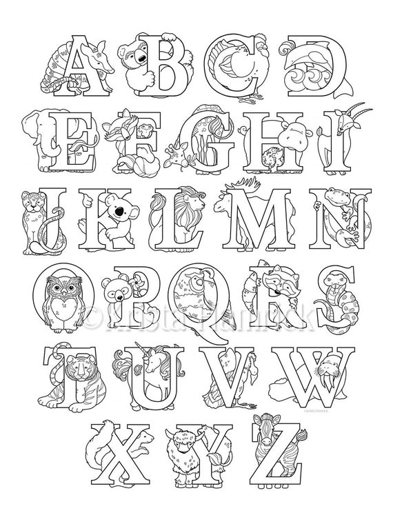 animal alphabet coloring page 8 5x11 etsy
