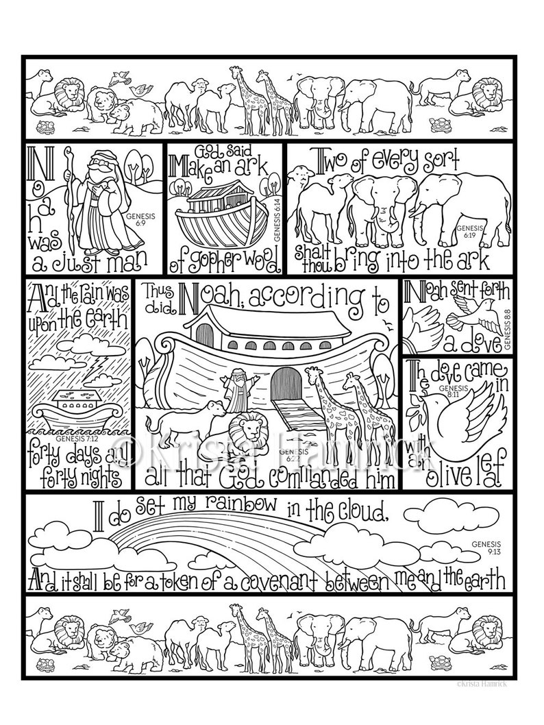 Noah\'s Ark coloring page in three sizes: 8.5X11, 8X10 suitable for framing,  6X8 for Bible journaling tip-in