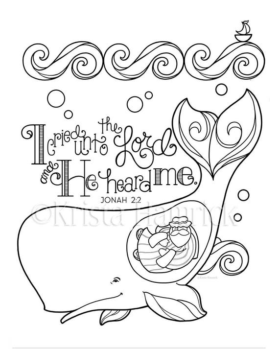 Jonah and the Whale coloring page 9.9X9 Bible journaling | Etsy