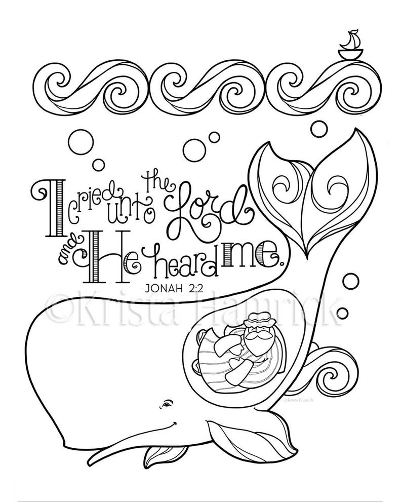Jonah and the Whale coloring page 8.5X11 Bible journaling | Etsy