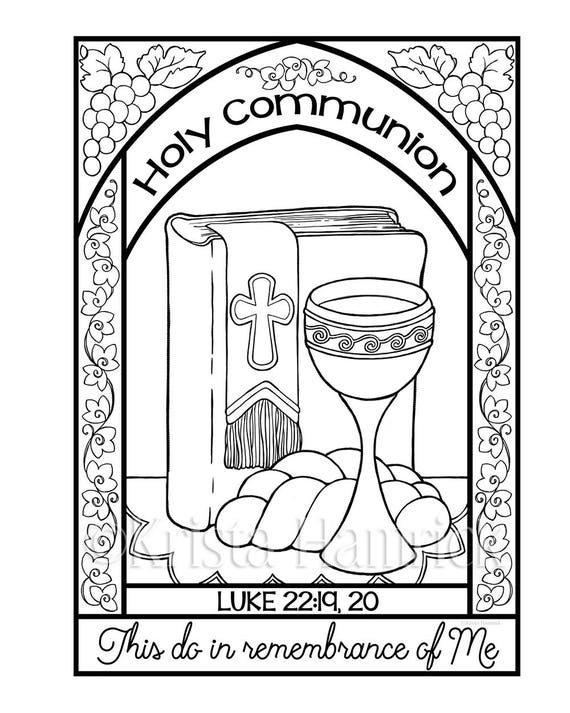 Holy Communion Coloring Page In Two Sizes: 8.5X11 Bible Etsy