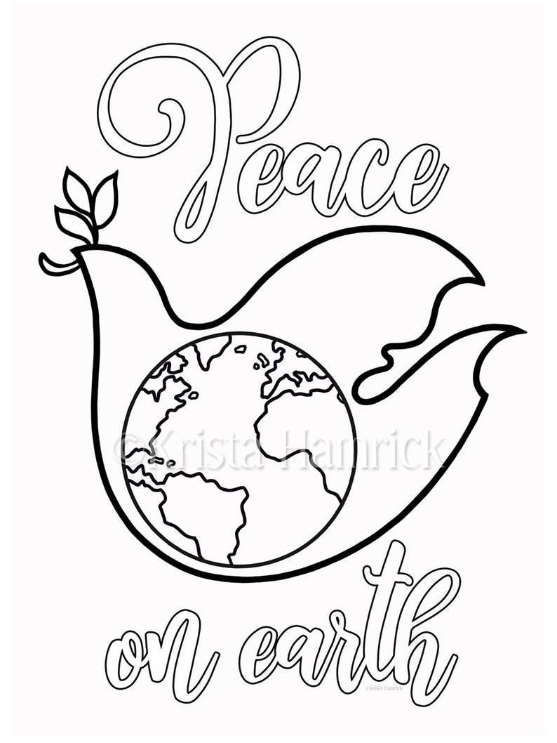 Peace Dove Coloring Page In Two Sizes 8 5x11 Bible Etsy