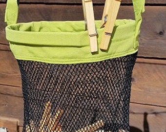 Clothespin Holder, Mesh Bag, Clothesline Bag, Peg Bag holder, Clothespins, laundry, laundry supplies, Clothespin, hanging bag, Off-grid