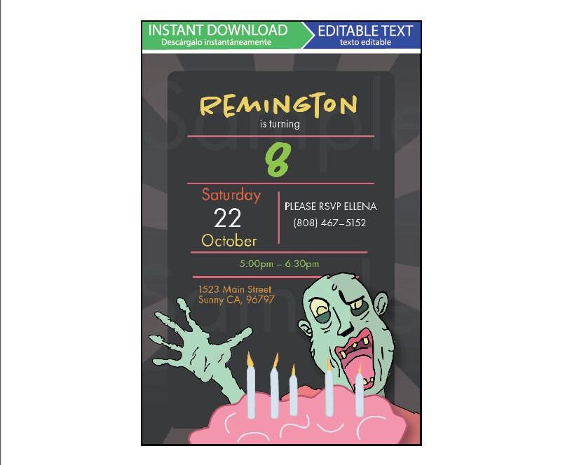 Birthday Invitation Editable Template Kids Party Zombie Plants Vs Zombies
