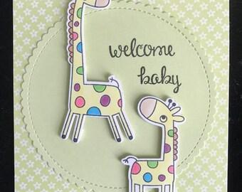Welcome Baby Giraffe Greeting Card