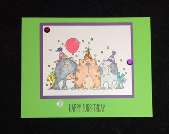 Birthday Party Cats Greeting Card
