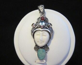 MoonMan Opal,  Blue Topaz, Citrine, Garnet, Sterling Silver Pendant (126)