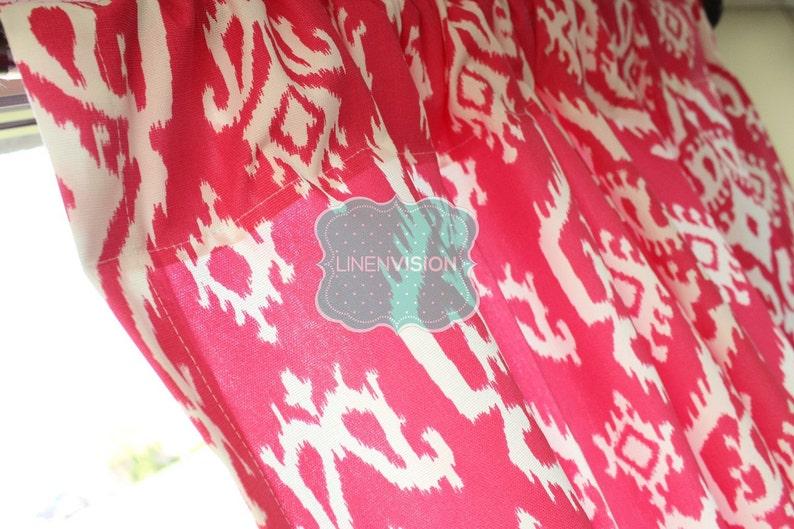 Premier Print Candy Pink Fuchsia  White PAIR of Curtain Drape Panels 2 pc RAJI Home Decor Window Treatment Kitchen Valance Drapery