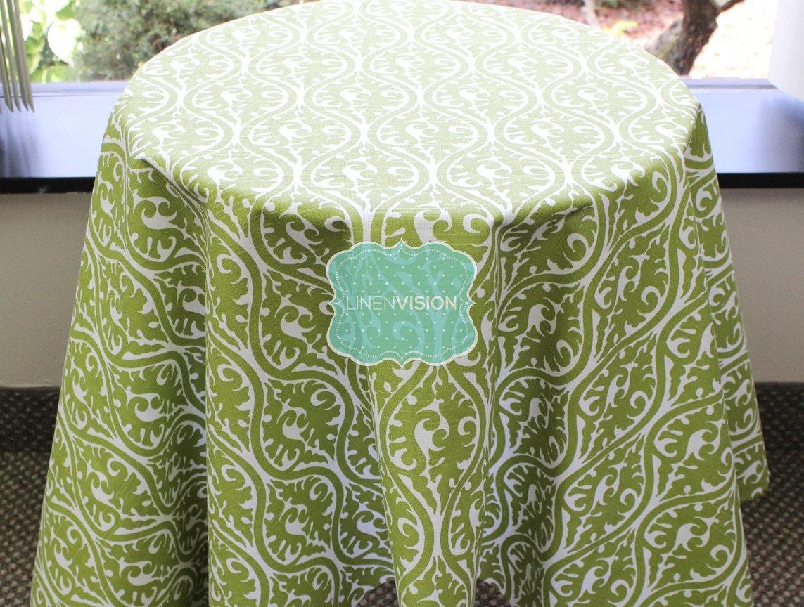 581b65421 Tablecloth Premier Prints KIMONO Damask Olive White | Etsy
