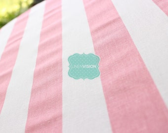 Fabric by the Yard - Premier Prints Cotton - CANOPY Stripe - BABY PINK - Home Decor Cotton Linen Fabric