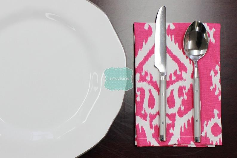NAPKINS Set of 4 RAJI Table Linen Home Decor Cotton Cloth Fabric Dining Dinner Napkins Premier Prints Candy Pink White
