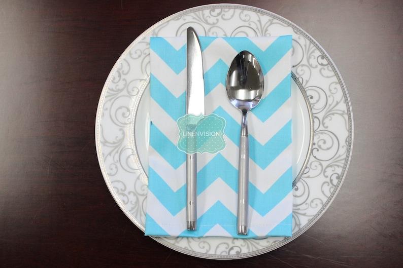 ZIG ZAG NAPKINS Girly Blue White Premier Prints Set of 4 Table Linen Home Decor Cotton Cloth Fabric Dining Dinner Napkins