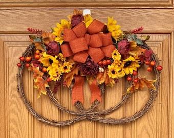 Gorgeous Fall Floral Pumpkin Grapevine Wreath/Door Hanger - Pumpkin Door Hanger - Pumpkin Decoration - Hand Made Fall Floral Arrangement