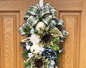 Gorgeous Fall Swag with Sage Sunflowers and White Pumpkins - Fall Decoration - Fall Wreath - Doorhanger - Grapevine Swag with Pumpkins