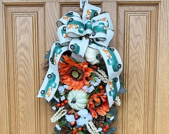 Fall Swag for Front Door - Fall and Autumn Decoration - Turquoise Truck Fall Swag - Orange Sunflowers with White Pumpkins - Grapevine Swag