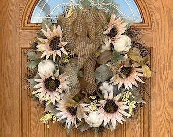 Farmhouse Sunflower Wreath with White Pumpkins - Country Fall Wreath with Sunflowers Pumpkins and Cotton - Grapevine Wreath with Cotton